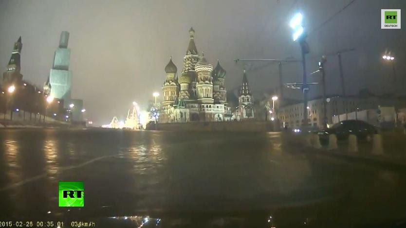 Dashcam Video kurz nach dem Mord an Nemzow
