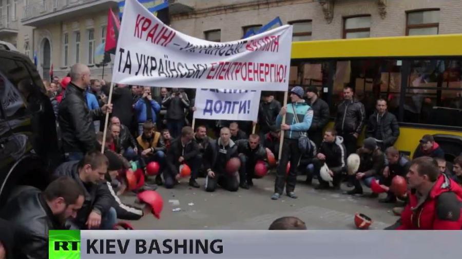 """Protest in Kiew: """"Es reicht!"""" - Bergarbeiter fordern ihre seit Monaten nicht gezahlten Löhne ein"""