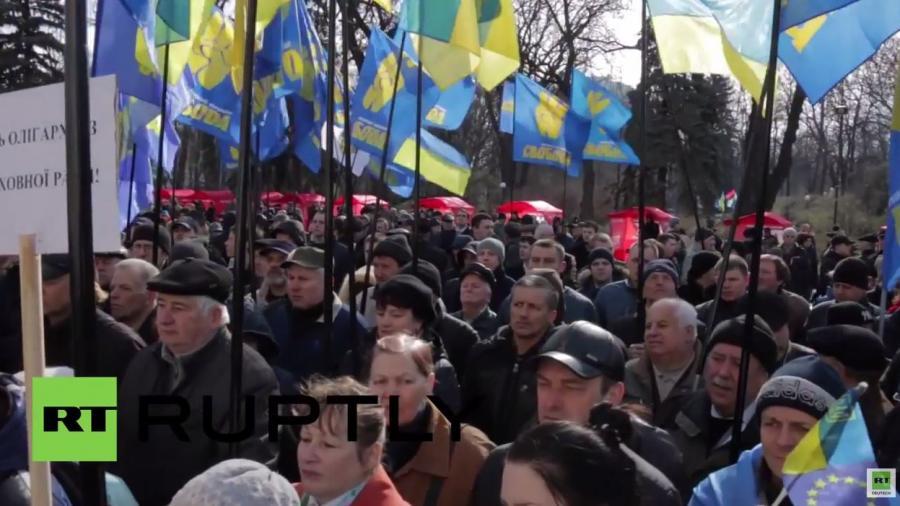 Ukraine: Hunderte Swoboda-Anhänger fordern Rücktritt von Premier Jazenjuk