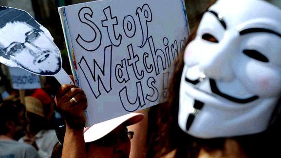 Foto: Demonstration gegen Überwachung.