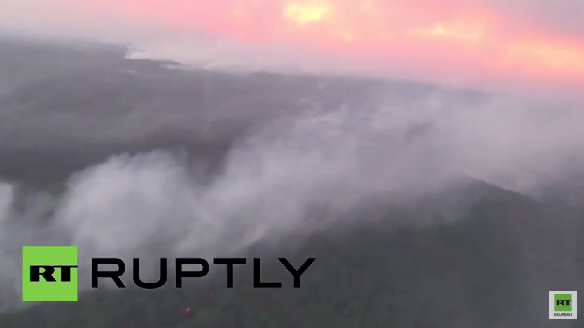 Ukraine: Jazenjuk macht sich ein Bild von Waldbränden in der Nähe von Tschernobyl