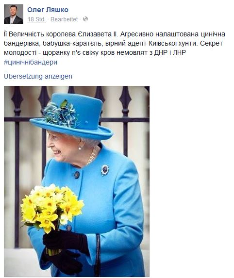 Spaß muss sein: Ukrainische Radikale erfreuen sich an der Farbwahl von Queen Elizabeth und Donbasser Kinderblut