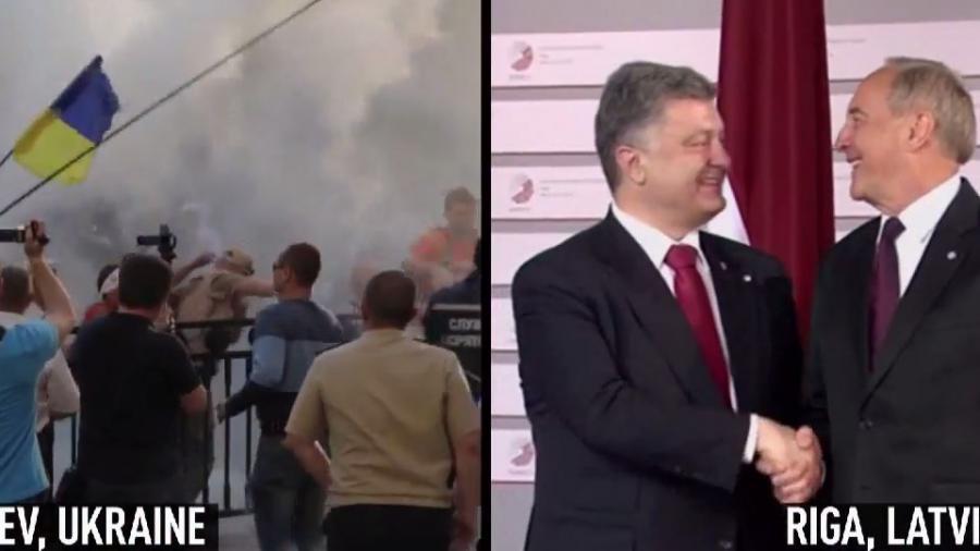 Anti-Regierungsproteste in Kiew und krampfhaftes Lächeln in Riga