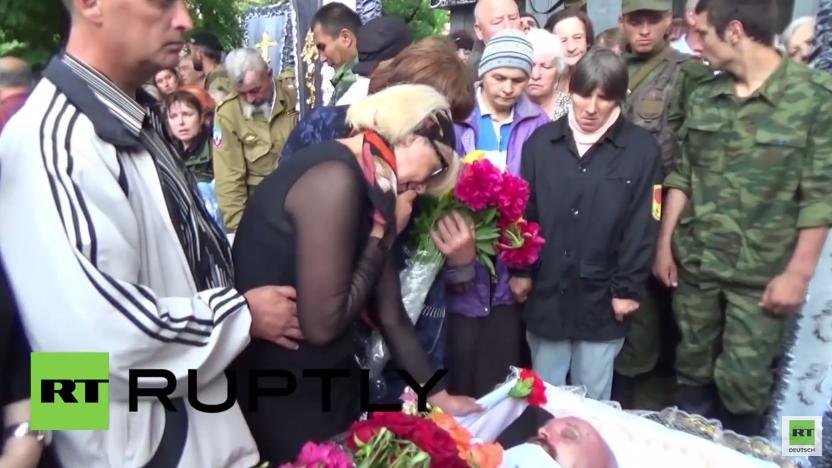 Ukraine: Trauerfeier für den bei einem Bombenanschlag getöteten Kommandeur Alexej Mozgowoj