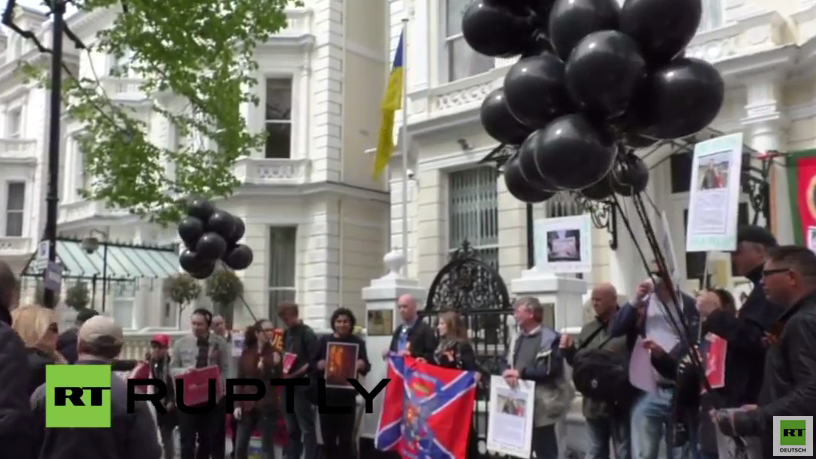 London: 1. Jahrestag Massaker in Odessa - Demonstration für Opfer