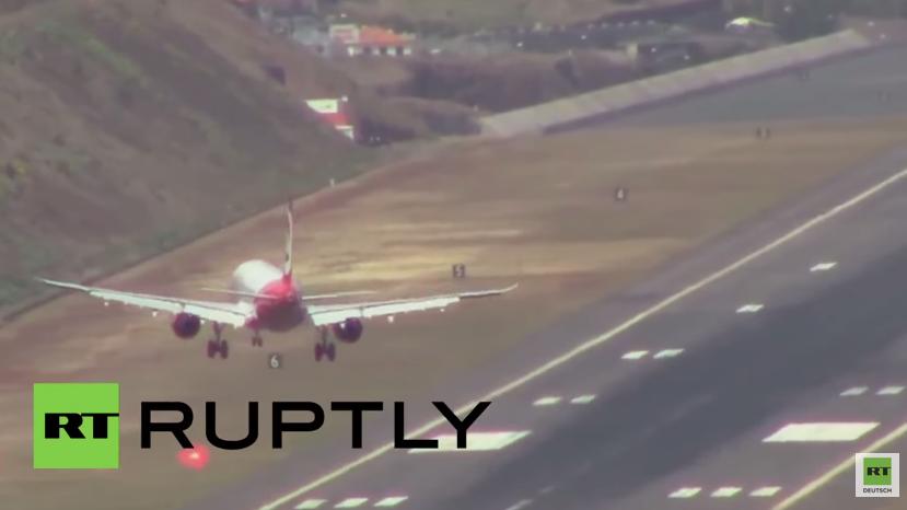 Portugal: Horrorlandung bei Sturm am Madeira Flughafen