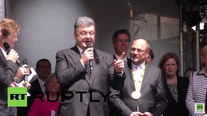 """Poroschenko in Aachen: """"Die Ukraine kämpft heute für Demokratie und Freiheit"""""""