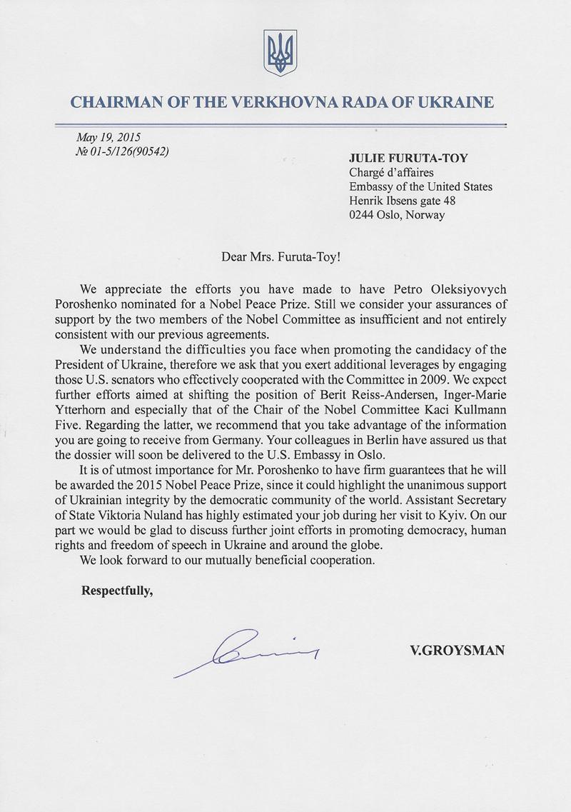 Leak: USA setzen Norwegen unter Druck, damit Poroschenko für den Friedensnobelpreis nominiert wird