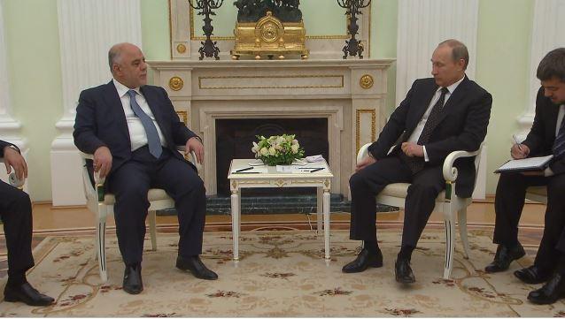 Der irakische Premierminister Haidar al-Abadi mit dem russischen Präsidenten Wladimir Putin im Gespräch. Bildquelle: Ruptly