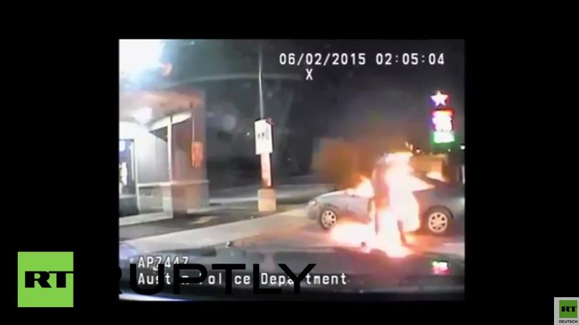 USA: Dash-Cam der US-Polizei fängt einen Mann ein, der sich selbst in Brand setzt
