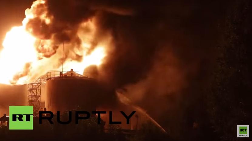 Ukraine: Explosionen und anschließender Großbrand in Treibstofflager – Mehrere Menschen sterben