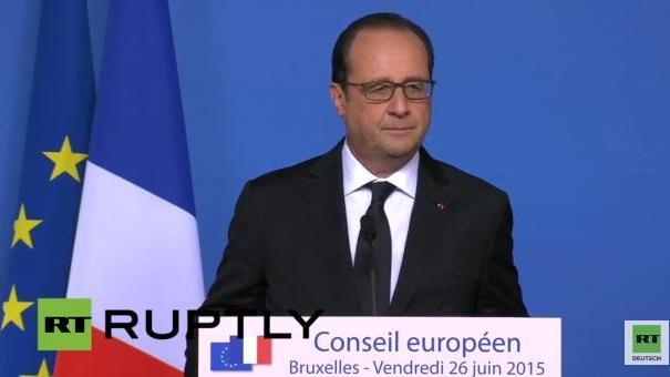 Pressekonferenz von Hollande zum Attentat auf die US-Gasfabrik in Frankreich