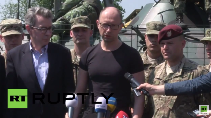 Jazenjuk besucht US-Trainingslager in der Ukraine und bedankt sich für neue Ausrüstung und neue Taktiken