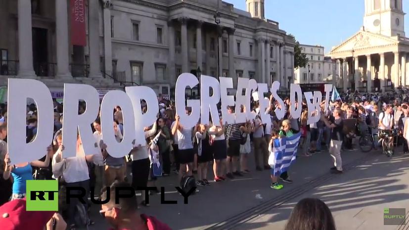 Demonstration in Solidarität mit Griechenland und gegen die Sparpolitik in London
