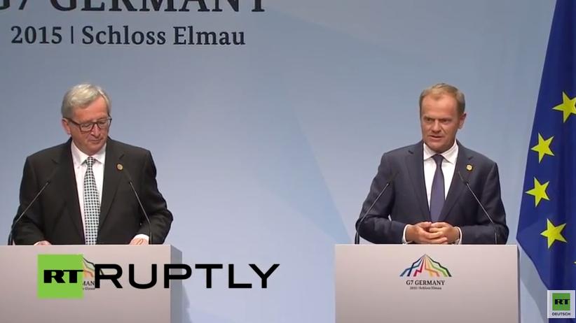 Juncker und Tusk geben Pressekonferenz vor G7-Gipfel in Elmau