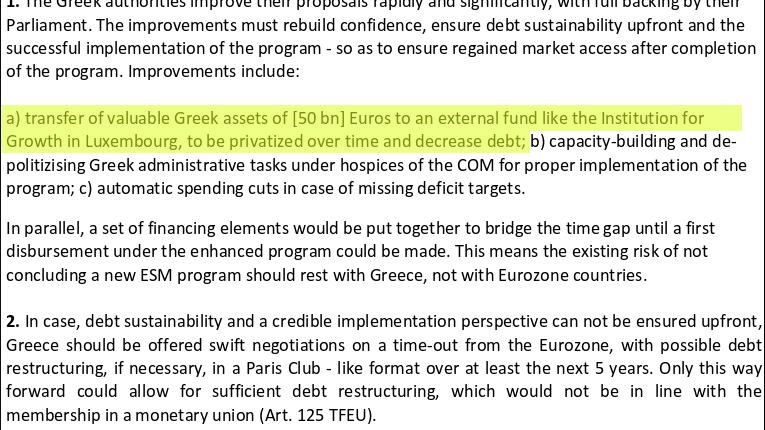 """Auszug aus Schäubles Grexit-Papier: Die eigene """"Familie"""" als Treuhändler des griechischen Staatsvermögens"""
