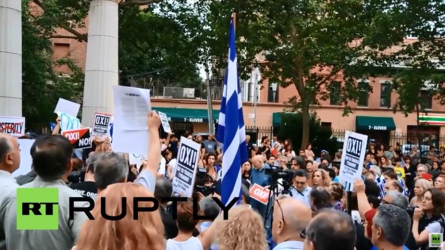 """Auch in New York Protest für """"Nein"""" beim griechischen Referendum"""