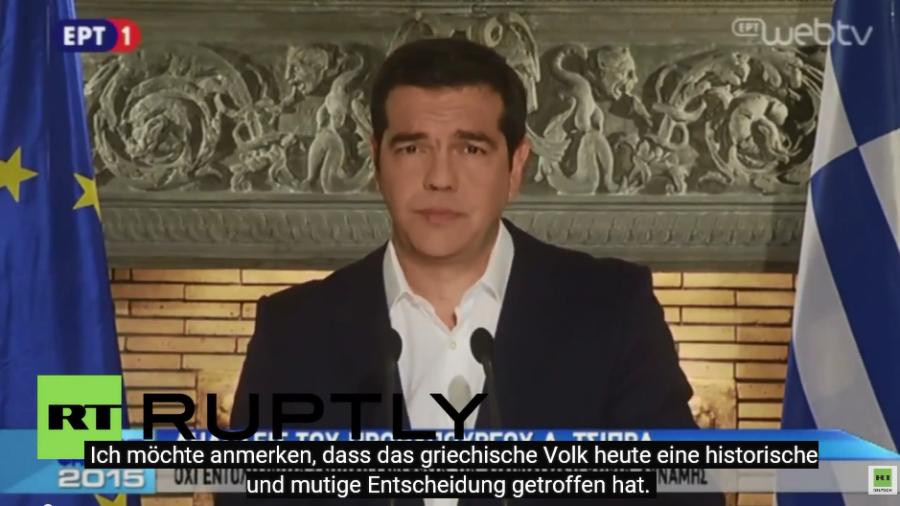 "Tsipras begrüßt ""historische Entscheidung"" der griechischen Bürger"