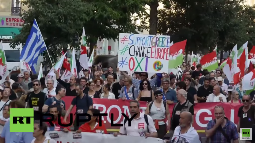 Paris: Tausende protestieren für Syriza, Griechenland und gegen die Sparpolitik