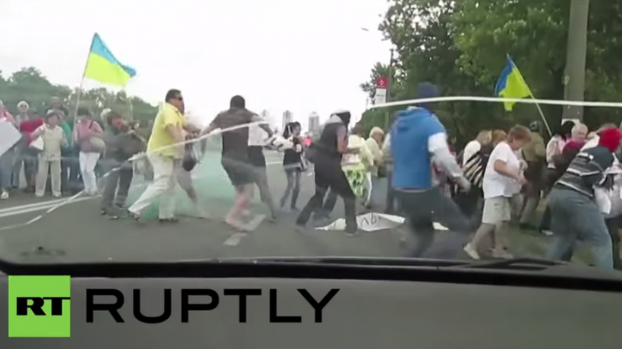 Ukraine: Maskierte stürmen Anti-Poroschenko-Demonstration