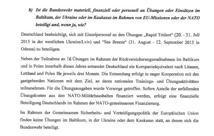 Antwort der Bundesregierung zu deutscher Beteiligung bei Militärmanövern in der Ukraine
