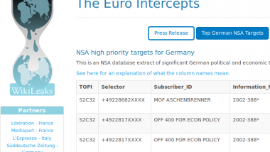 Eine erste Selektorenliste der NSA-Spähliste wurde nun veröffentlicht. Quelle: wikileaks.org