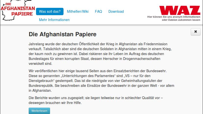 Netzpolitik.org kein Einzelfall: Regierung zwingt WAZ-Mediengruppe zur Zensur geleakter Afghanistan-Dokumente