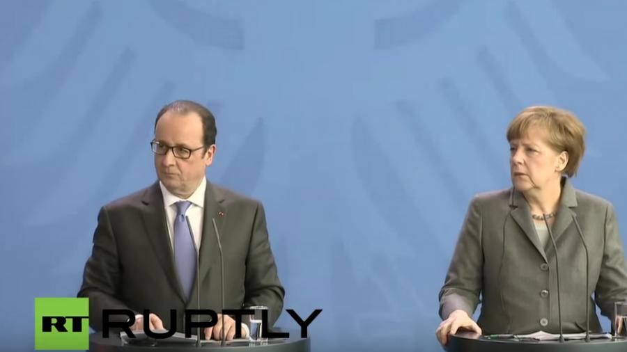 Live: Pressekonferenz von Merkel und Hollande vor dem Treffen mit Poroschenko