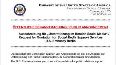 Kopf der Ausschreibung der US-Botschaft