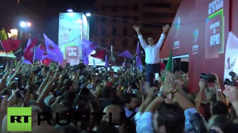 Tsipras feiert in Athen mit Syriza-Unterstützern
