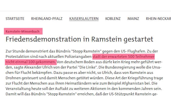 """Programmbeschwerde gegen SWR wegen Manipulation bei Berichterstattung zum """"Stopp Ramstein""""-Protest"""