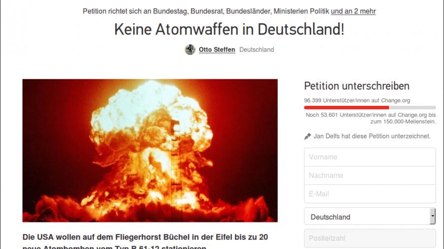 """Erfolgreiche Petition: 100.000 Bundesbürger fordern """"keine Atomwaffen in Deutschland!"""""""