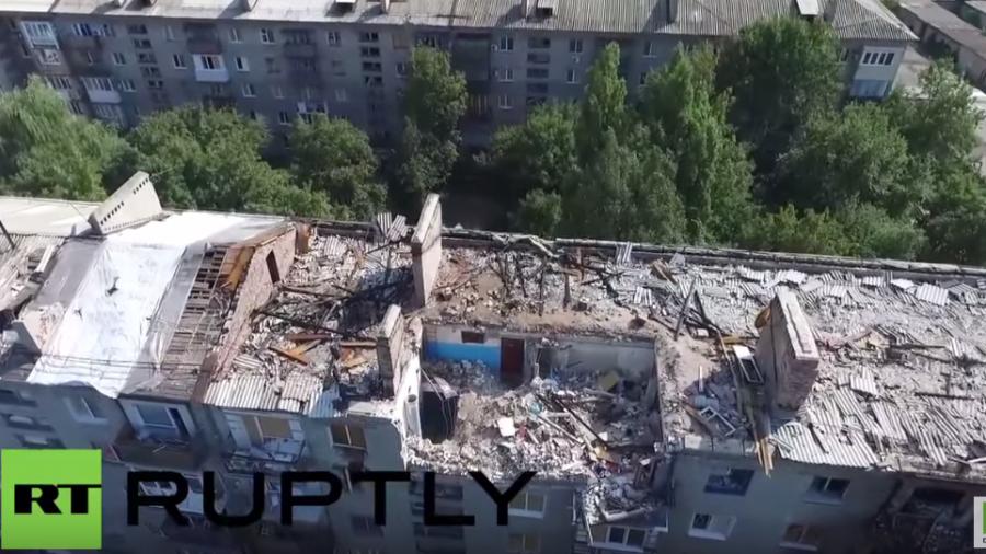 Donezk: Dohnenaufnahme zeigt das Ausmaß der Zerstörung nach über einem Jahr Bürgerkrieg