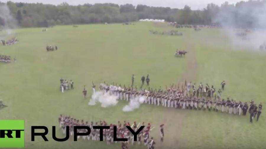 Russland: Kampfszenen der Schlacht um Borodino von 1812 originalgetreu nachgestellt