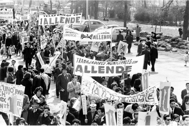 Demonstration von Unterstützern Allendes und der Unidad Popular