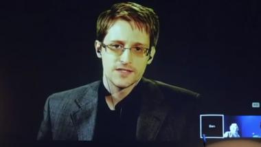 Edward Snowden per Videoschalte auf der Verleihung des Bjørnson-Preises. Quelle: Screenshot Youtube