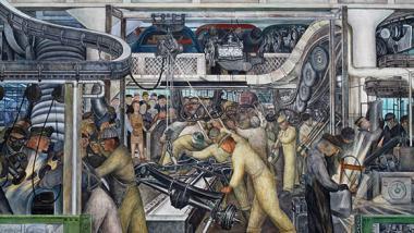 Ein Wandgemälde des mexikanischen Künstlers Diego Rivera zeigt Fabrikarbeiter am Fließband