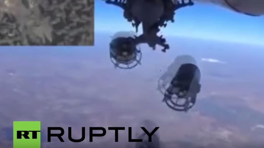 Syrien: Videoaufnahme zeigt russischen Bombenabwurf auf IS-Stellung