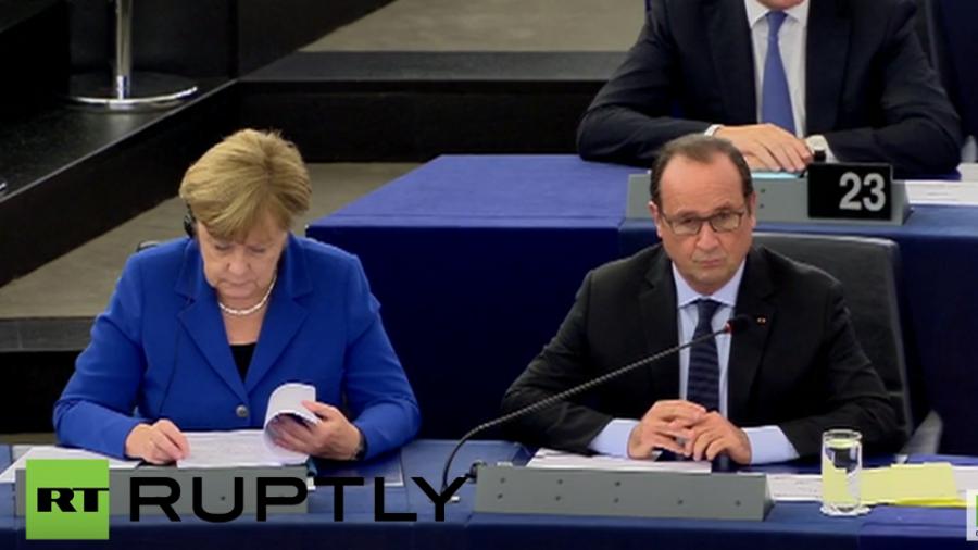 Live: Angela Merkel und Francois Hollande sprechen im EU-Parlament zur Flüchtlingskrise