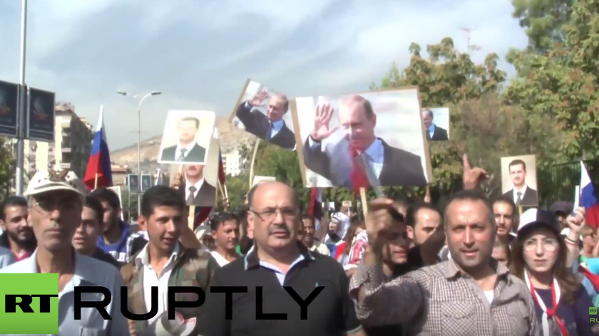 Moment des Granatenanschlags in Damaskus auf russischer Botschaft während Unterstützungsdemo
