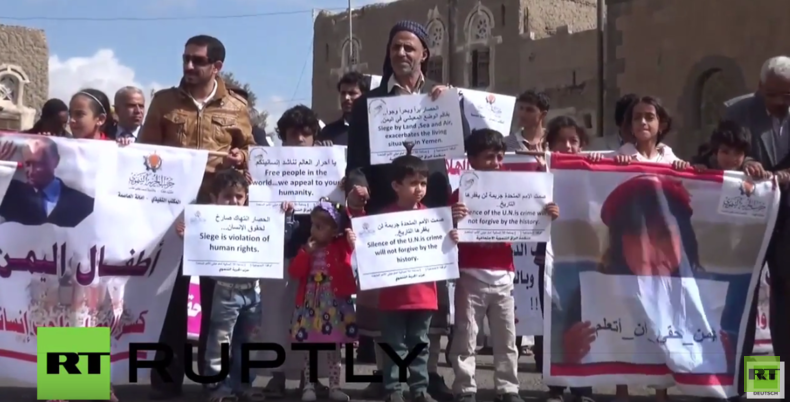 "Jemen: ""Danke Russland!"" – Hunderte Jemeniten danken Russland für die humanitäre Hilfe"