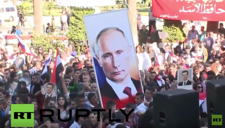 Syrien: Hunderte Syrer demonstrieren ihre Solidarität mit Russlands Anti-Terror-Einsatz