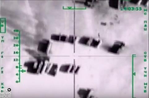 US-Fernsehen gibt Bilder von russischen Luftschlägen gegen IS-Öltransporte als US-Angriffe aus