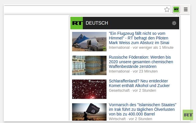 Diese Artikel-Übersicht bietet euch das RT Deutsch-Browser-Addon nach erfolgreicher Instalation.
