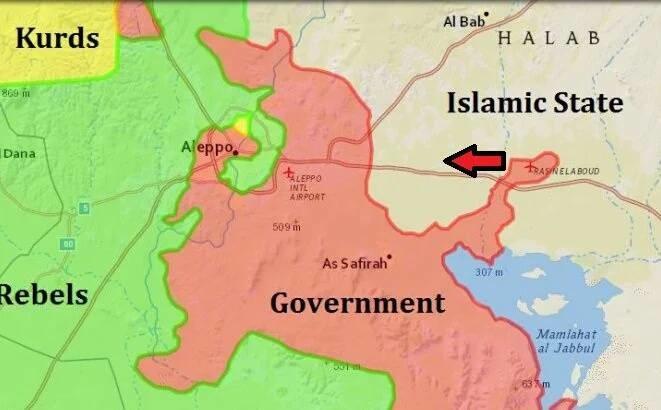 Eine Karte von der Provinz Aleppo