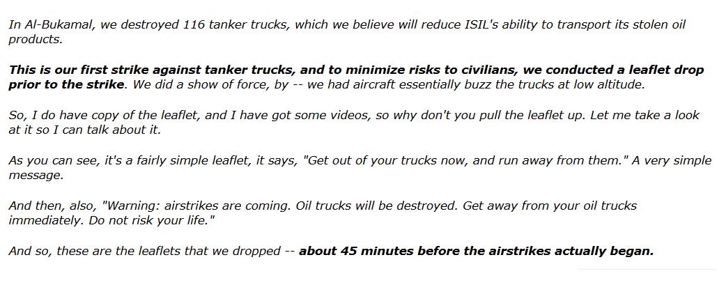 """Fair Play? USA geben """"Islamischen Staat"""" 45 Minuten Warnzeit vor Angriff auf  dessen Öl-Transporter"""