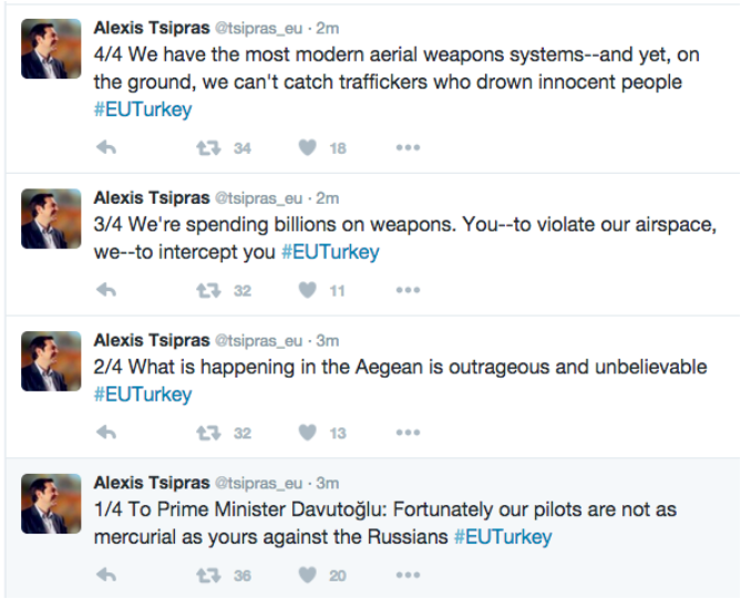 Einträge auf Tsipras' englischem Twitter-Konto.