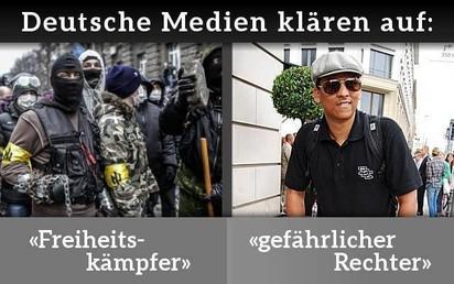 Verkehrte Welt: Neonazis vom ukrainischen Asow-Bataillon wurden in deutschen Medien wiederholt als