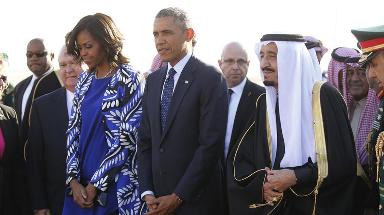 US-Präsident Barack Obama und First-Lady Michelle Obama werde vom saudischen König Salman nicht nur mit warmen Worten begrüßt
