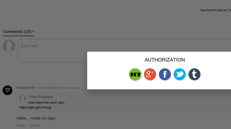 Der linke Button ermöglicht die Erstellung eines RT Deutsch-Kommentatoren-Accounts